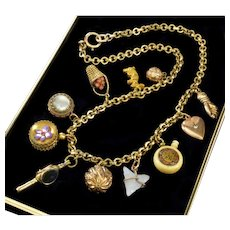 Antique Victorian 11-Charm Pendants GF Gold Filled Necklace