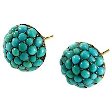 Antique Victorian Natural Turquoise Pave Gold Button Stud Earrings c. 1880