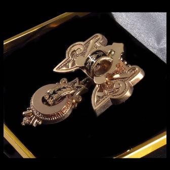 Antique Victorian 10K Gold Taille D'Epargne Enamel Watch Pin Brooch C. 1860