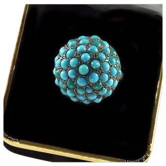 Antique Victorian Natural Turquoise Pave Sterling Ring C.1880