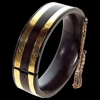 Antique Victorian 10K Gold Inlay Vulcanite Cuff Bangle Bracelet C. 1860