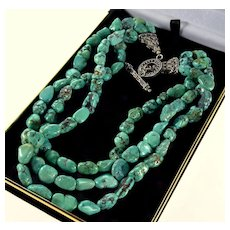Vintage Natural Matrix Turquoise Bead 3-strand Necklace Sterling Clasp