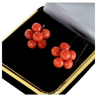 Antique Victorian Red Coral 9K Gold Cluster Earrings C.1860