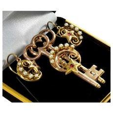 Antique Victorian 10K Gold Crescent Moon Star Keys Love Token Earrings & Brooch Set