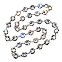 Art Deco Bezel Set Rock Crystal Sterling Riviere Necklace