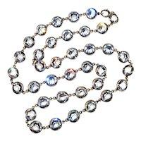 Art Deco Bezel Set Rock Crystal Sterling Riviere Necklace