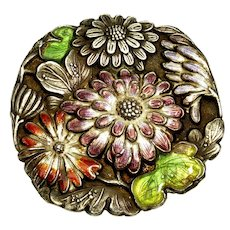 Antique Art Nouveau Japan Meiji Enamel Sterling Junjin Flower Brooch C. 1890 -1910