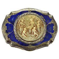 Italian Enamel Hand Carved Celluloid Engraved Silver Cosmetic Compact