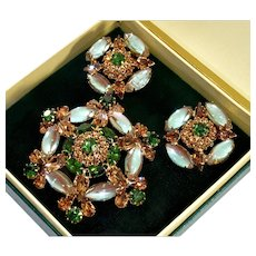 Vintage Weiss Rare Saphiret Glass Topaz Emerald RS Brooch Earrings