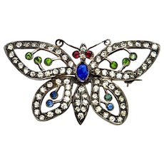 Art Deco French Paste Sterling Butterfly Watch Pin Brooch