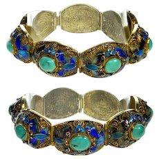 Chinese Export Turquoise Enamel Sterling Filigree Wedding Bracelet