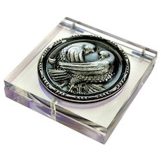 Art Deco Crystal Lucite Sterling Doves Powder Compact
