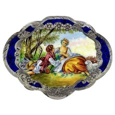 Italian Pastoral Enamel Engraved Silver Cosmetic Compact