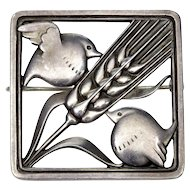 Georg Jensen Sterling Birds & Wheat Brooch Pin C. 1940's