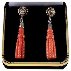 Antique Victorian Carved Red Coral Sterling Earrings