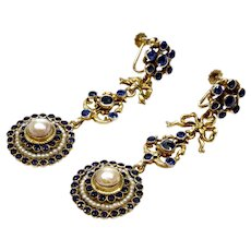 Victorian Austro-Hungarian Sapphire Paste Seed Pearl Chandelier Earrings