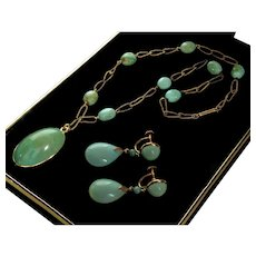 Victorian Natural Turquoise 14K Gold Necklace Earrings Set