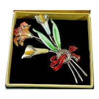 Art Deco Guilloche Enamel Rhodium & Sterling Bouquet Brooch