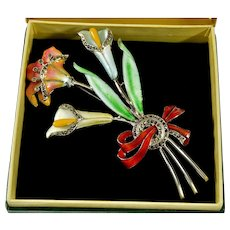 Art Deco Guilloche Enamel Rhodium & Sterling Bouquet Brooch