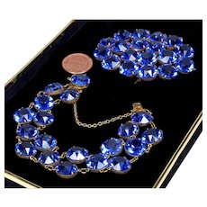 Art Deco Royal Blue Paste Gilded Brass Bracelet Brooch Set