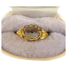 Antique Georgian Lover's Eye 18K Rose Gold Ring