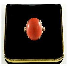 Antique Edwardian Salmon Coral 10K Gold Ring