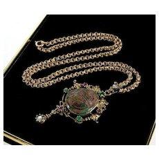 Austro - Hungarian Turquoise Scarab Emeralds Rubies Gargoyle Silver Pendant Necklace