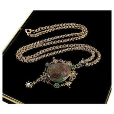 Austro - Hungarian Turquoise Scarab Emeralds Rubies Gargoile Silver Pendant Necklace