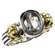 Lagos Caviar 18K Gold 925 Sterling White Topaz RIng