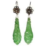 Art Deco Chinese 14K Carved Jadeite Jade Dangle Earrings