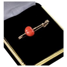 Antique Victorian 14K Gold Carved Red Coral Heart Safety Pin