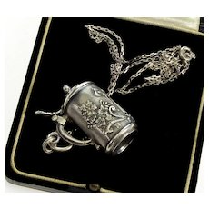 Antique Victorian Silver Opening Lid Beer Stein Fob Pendant Necklace