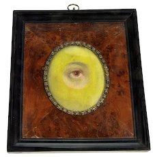 Antiue Georgian Lover's Eye Watercolor MIniature Picture