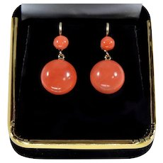 Antique Victorian 14K Gold Salmon Coral Dangle Earrings