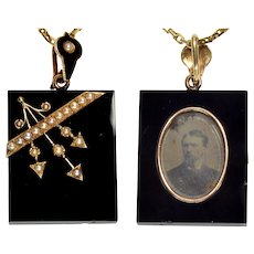 Antique Victorian 14K Gold Arrow Pearl Onyx Locket Chain Necklace