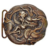 Antique Japan Meiji Bronze Repousse Dragon Buckle