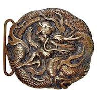 Antique Japan Meiji Bronze Repousse Dragon Buckle