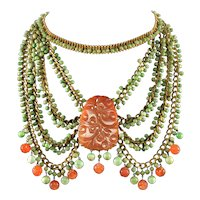 Art Deco Chinese Apple Green Red Jadeite Jade & Carnelian Brass Swag Statement Necklace