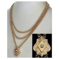 Antique Victorian 10K Gold Diamond Slider Double Link Guard Chain