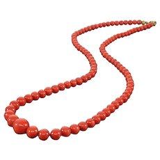 Antique Victorain Italian Mideterranean Tomato Red Coral Bead Necklace 10K Clasp