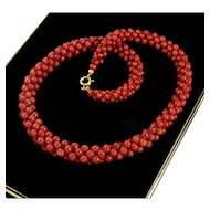 Vintage 40's Italian Mediterranean Ox Blood Red Coral Woven Bead Necklace Choker