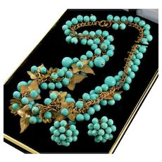 Vintage 40's Frank Hess For Miriam Haskell Turquoise Glass Brass Necklace Earrings
