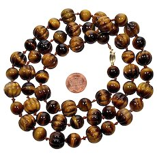 Art Deco 14K Hand Carved Tiger Eye Melon Bead Necklace