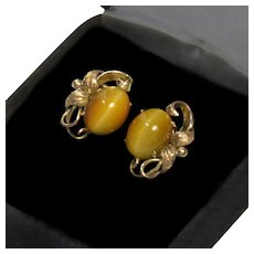Antique Victorian 14K Rose Yellow Gold Cat's Eye Cabochon Stud Earrings