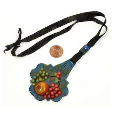 Antique Art Deco French Celluloid Fruit Salad Pendant Necklace