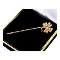 Antique Victorian 14K Rose Gold Pearl 4-leaf Shamrock Lucky Charm Stickpin