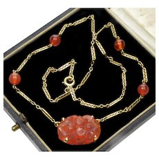 Art Deco 14K Gold Chinese Carved Carnelian Chain Necklace