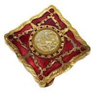 Art Deco French Champleve Enamel Carved Celluloid Playing Cherubs Cosmetic Compact