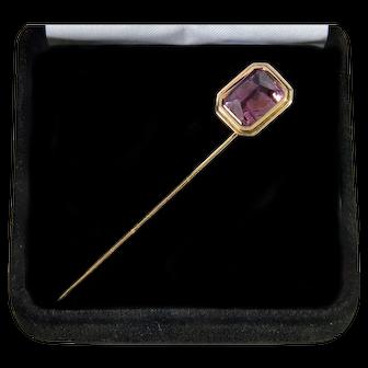 Antique Victorian 14K Rose Gold Pink Amethyst Stick Pin