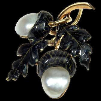 Antique Art Nouveau 14K Gold Enamel Pearl Acorn Pendant